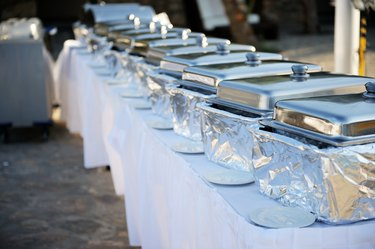 Banquet table with chafing dishes