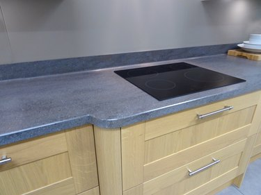 Modern kitchen, touch ceramic hob cooker, drawers, beech wood cabinets