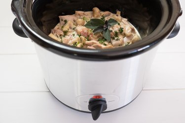 Slow cooker crockpot meal with chicken and herbs
