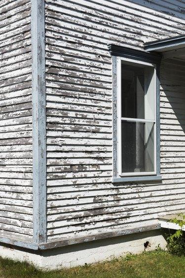Partial view of old home facade