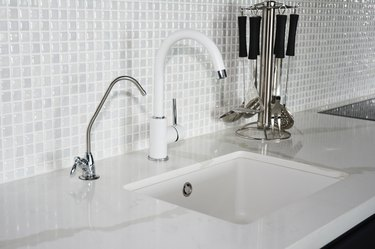 Modern kitchen white faucet and sink