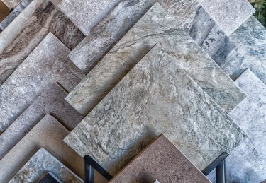 Tile flooring samples selection in rack in retail store with no people