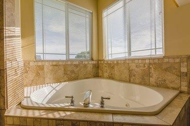 Jetted bathtub in modern home