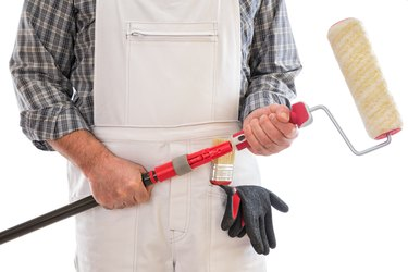 Professional house painter isolated on white background