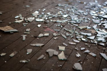 Pieces of shattered glass or mirror