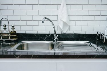 Close-Up Of Kitchen Sink At Home