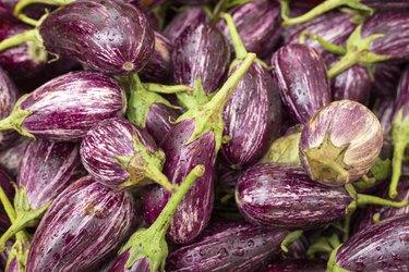 Fresh eggplants on the market - Solanum melongena