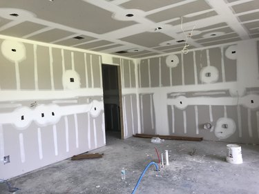 Home Construction: Drywall being installed