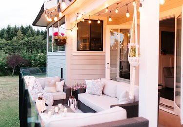 Outdoor Deck Space with Edison lights