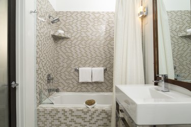 Modern Tiled Bathroom with Shower and Vanity