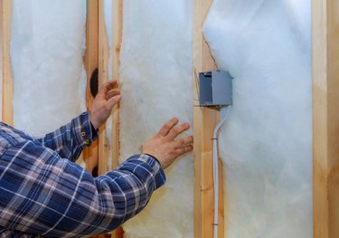 Work composed of mineral wool insulation in the wall heating insulation warm house,