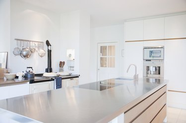 Modern kitchen with stainless steel counters