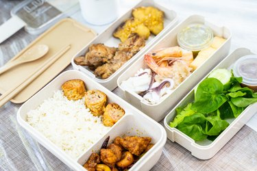 food in plastic lunch box