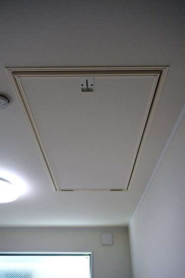 In the house, ceiling with attic storage ladder