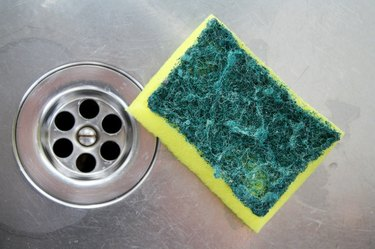 back side of a sponge after cleaning the sink