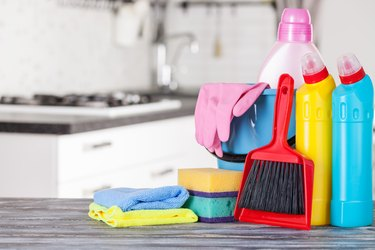 Cleaning set with products.