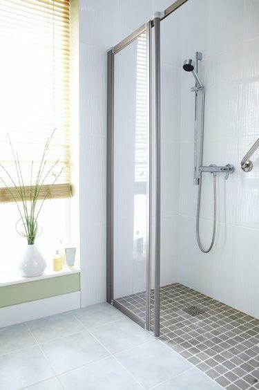 Modern shower with glass door