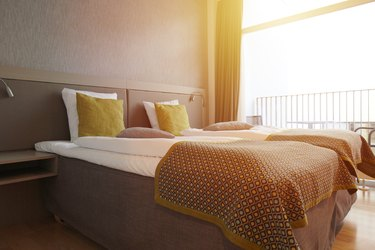 Beds and pillow in hotel room