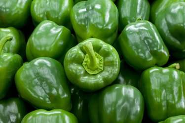 Green Bell peppers background