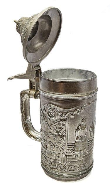 Pewter beer mug.