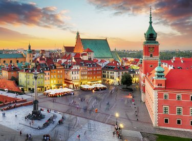 Night panorama of Old Town in Warsaw, Poland
