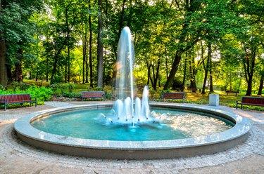 Nice fountain in the urban park.