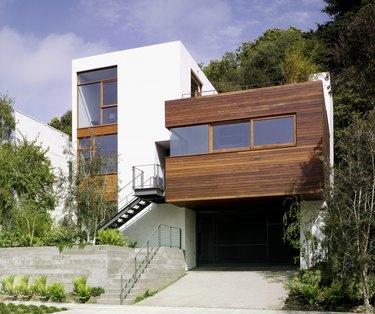 Modern Stucco and Wood Clad House