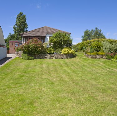 Terraced border of shrubs in large garden and bungalow PR