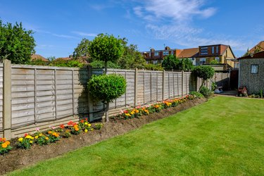 Backgarden flower bed with fence