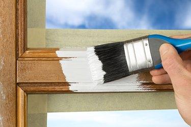 Painting wood window frame