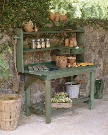 Potting bench.