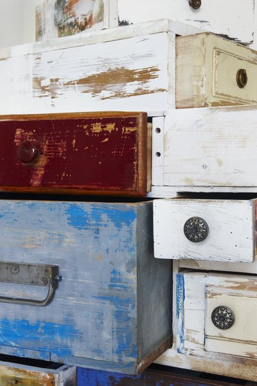 Painted wooden drawers