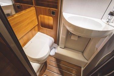 Toilet in a luxury caravan