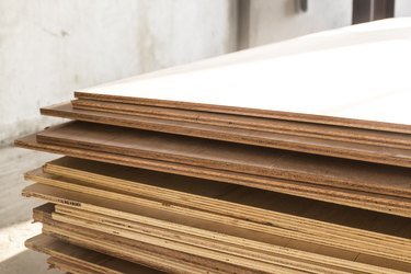 Stack of plywood panels