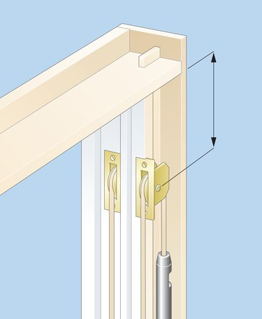 Digital illustration of pulley and cord on box frame of sash window