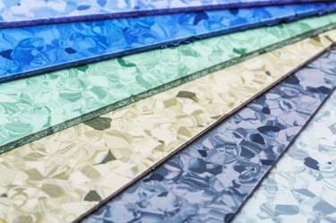 Linoleum sheets in different colors.