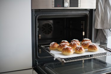 Mini brioches coming out of the oven