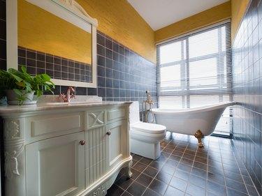 Modern bathroom with ceramic tile.