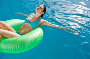 Young woman enjoying pool