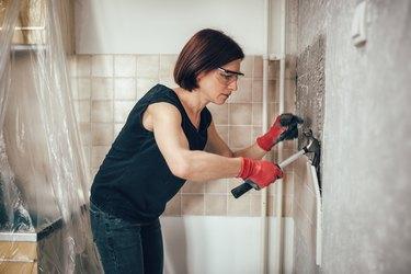 Woman renovation kitchen