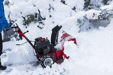 Snowblower blowing snow