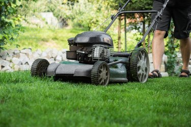 Low Section Of Man Mowing Lawn.