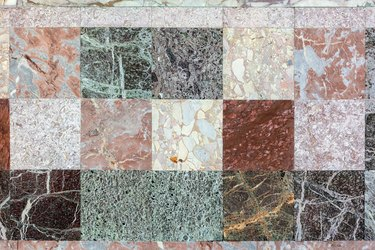 A closeup of the texture of a beautiful multi-colored marble