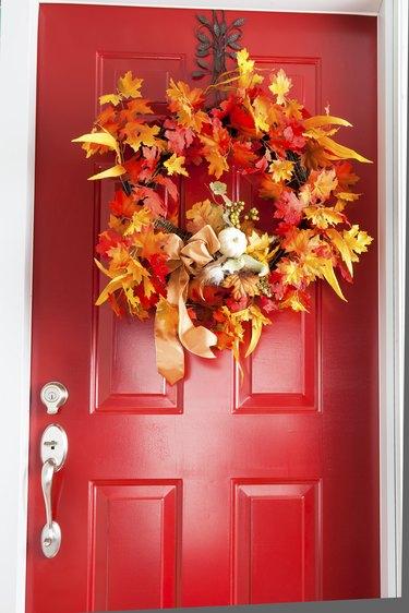 Autumn red door.