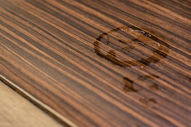 Glass water marks on the wooden table