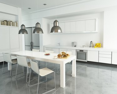 White space with kitchen floor paint