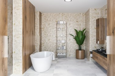 Wooden bathroom interior, black sink and tub