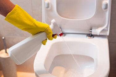 cleaning toilet with spray antibacterial detergent