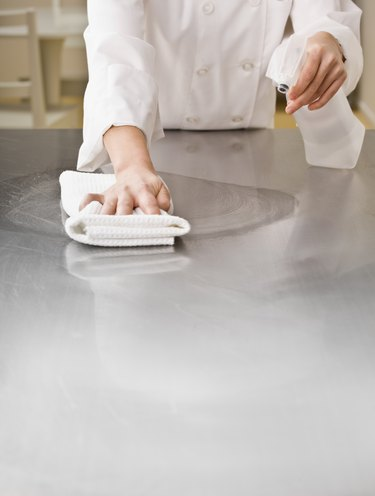 Chef Cleaning Counter