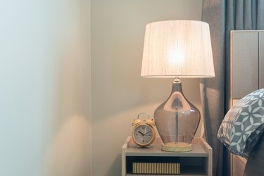 classic lamp on wooden table side